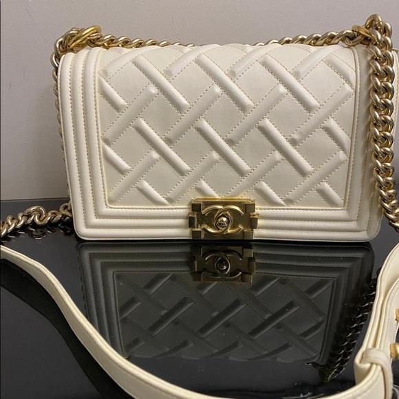 CHANEL Handbags - !sold! Chanel boy medium ivory gold hardware